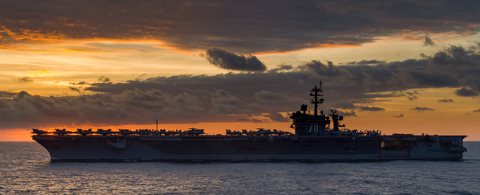 The Nimitz-class aircraft carrier USS Carl Vinson (CVN 70) transits the South China Sea.
