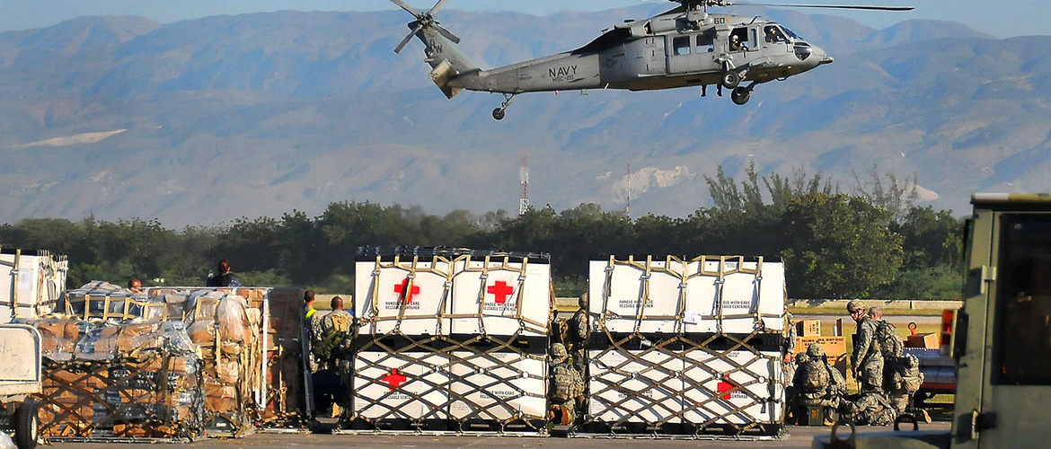 Navy helicopters with medical supplies