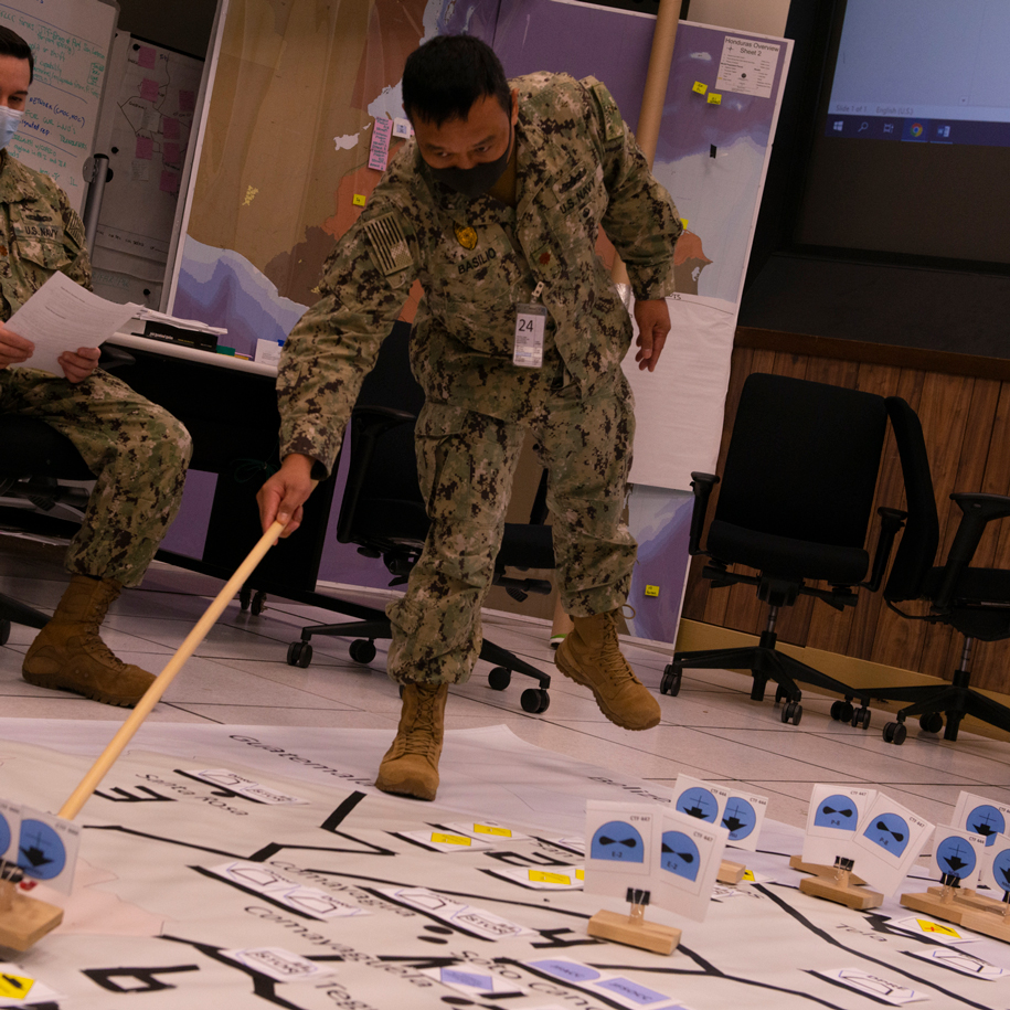 Students involved in a wargame.