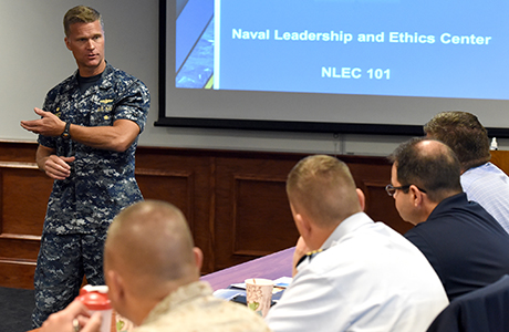 Naval Leadership and Ethics class in session