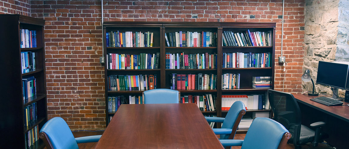 Bookshelves within the Learning Commons