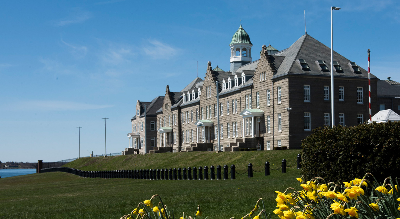 U.S. Naval War College's Luce Hall with tulips.