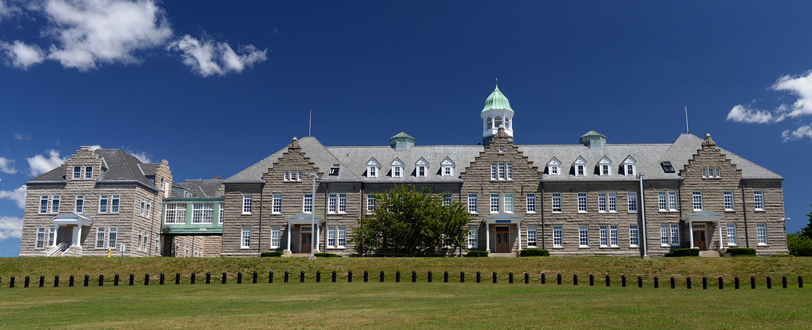 U.S. Naval War College's (NWC) Luce Hall on Coasters Harbor Island in Newport, Rhode Island.
