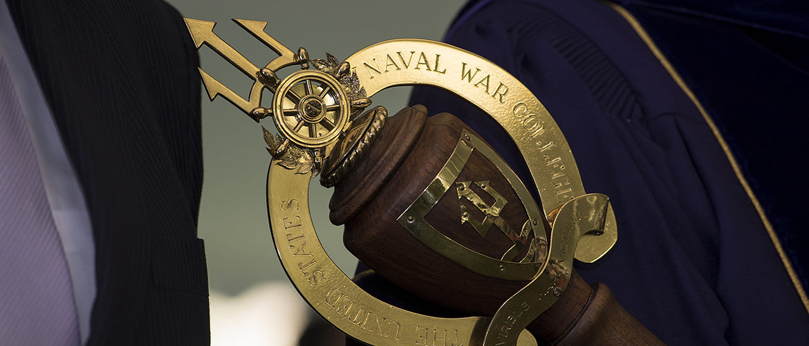 The Mace is a symbol of U.S. Naval War College as an academic institution. In an academic procession, the Faculty Marshal leads the faculty in the academic procession carrying this Mace.
